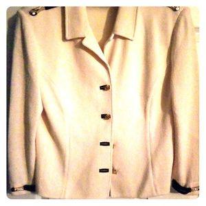 St. John knits Coll bright white jacket w/navy tri
